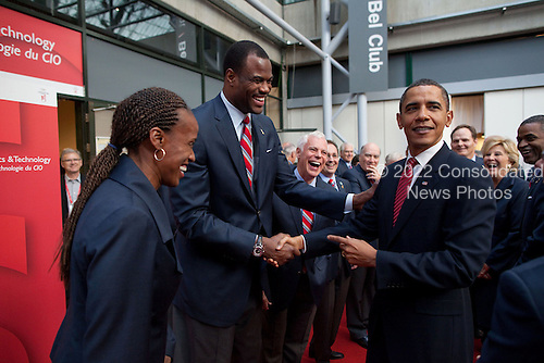 Copenhagen, Denmark - October 2, 2009 -- United States President Barack Obama greets former Olympic athletes, including Jackie Joyner-Kersee and David Robinson, at the Bella Center in Copenhagen, Denmark, October 2, 2009, prior to the Chicago 2016 Presentation to the International Olympic Committee..Mandatory Credit: Pete Souza - White House via CNP