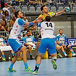 GER - Mannheim, Germany, September 23: During the DKB Handball Bundesliga match between Rhein-Neckar Loewen (yellow) and TVB 1898 Stuttgart (white) on September 23, 2015 at SAP Arena in Mannheim, Germany. Final score 31-20 (19-8) . (Photo by Dirk Markgraf / www.265-images.com) *** Local caption *** Dominik Weiss #6 of TVB 1898 Stuttgart, Patrick Groetzki #24 of Rhein-Neckar Loewen, Simon Baumgarten #14 of TVB 1898 Stuttgart