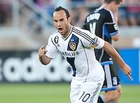Stanford, California - Saturday June 30, 2012: Landon Donovan celebrates after his goal during a game at Stanford Stadium, Stanford, Ca.San Jose Earthquakes defeated Los Angeles Galaxy,  4 to 3