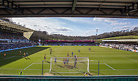 General view as Wycombe go close with a shot at goal during the Sky Bet League 2 match between Wycombe Wanderers and Mansfield Town at Adams Park, High Wycombe, England on 25 March 2016. Photo by Andy Rowland.