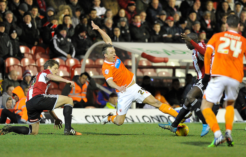 Blackpool's Anthony McMahon in action during todays match  <br /> <br /> Photographer Ashley Western/CameraSport<br /> <br /> Football - The Football League Sky Bet League One - Brentford v Blackpool - Tuesday 24th February 2015 - Griffin Park - London<br /> <br /> &copy; CameraSport - 43 Linden Ave. Countesthorpe. Leicester. England. LE8 5PG - Tel: +44 (0) 116 277 4147 - admin@camerasport.com - www.camerasport.com