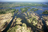 Zambesi River, Zambia. Aerial view of river in full flood.
