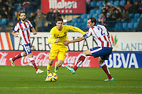 Atletico de Madrid´s Diego Godin and Villarreal´s Luciano Dario Vietto during 2014-15 La Liga match between Atletico de Madrid and Villarreal at Vicente Calderon stadium in Madrid, Spain. December 14, 2014. (ALTERPHOTOS/Luis Fernandez) /NortePhoto