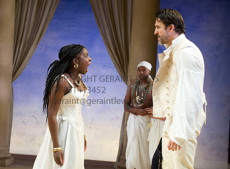 Antony and Cleopatra by William Shakespeare, A Royal Shakespeare Company Production directed by Tarell Alvin McCraney. With Joaquina Kalukango as Cleopatra, Chivas Michael as Mardian, Jonathan Cake as Antony, . Opens at The Swan Theatre, Stratford Upon Avon   on 13/11/13  pic Geraint Lewis