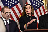 Speaker of the United States House of Representatives Nancy Pelosi (Democrat of California) holds a press conference following the vote on the two articles of impeachment against US President Donald J. Trump in the US Capitol in Washington, DC on Wednesday, December 18, 2019.  At left is US Representative Jerrold Nadler (Democrat of New York), Chairman, US House Judiciary Committee.<br /> Credit: Ron Sachs / CNP<br /> (RESTRICTION: NO New York or New Jersey Newspapers or newspapers within a 75 mile radius of New York City)