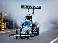 Apr 14, 2019; Baytown, TX, USA; NHRA top fuel driver Antron Brown during the Springnationals at Houston Raceway Park. Mandatory Credit: Mark J. Rebilas-USA TODAY Sports