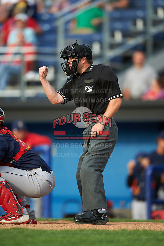 Umpire John Budka during a game between the State College Spikes and Batavia Muckdogs on June 22, 2016 at Dwyer Stadium in Batavia, New York.  State College defeated Batavia 11-1.  (Mike Janes/Four Seam Images)