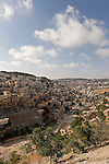 Jerusalem, Israel, The City of David western slope of Kidron Valley (right), the neighborhood of Silwan on the left<br />