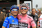 Race leader Maglia Rosa wearer Lukas Postlberger (AUT) with Maglia Azzura wearer Cesare Benedetti (ITA) Bora-Hansgrohe arrive at sign on before Stage 2 of the 100th edition of the Giro d'Italia 2017, running 221km from Olbia to Tortoli, Sardinia, Italy. 6th May 2017.<br /> Picture: Ann Clarke | Cyclefile<br /> <br /> <br /> All photos usage must carry mandatory copyright credit (&copy; Cyclefile | Ann Clarke)