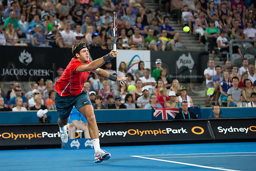 11.01.2014. Sydney Australia.  Juan Martin Del Potro during the Mens Final, Apia International, Sydney Olympic Park Tennis Centre, Sydney, Australia, Saturday, 11 Jan 2014.