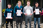 St. Michael's College Listowel students who had completed their first Leaving cert exam on Wednesday last. L- R : Darragh Breen, Eric Barry, Kieran Finnerty & Sean Valentin.