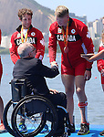 Rio de Janeiro-11/9/2016- Victoria Nolan, Meghan Montgomery, Andrew Todd, Curtis Halladay and Kirsten Kit win bronze in the  LTA mixed coxed four at the Lagoa Stadium  at the 2016 Paralympic Games in Rio. Photo Scott Grant/Canadian Paralympic Committee