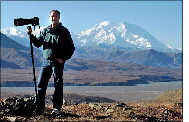 M. Scott Moon with Mount McKinley in Alaska's Denali National Park