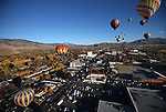 Hot air balloons rise above Carson City, Nev., on Saturday, Oct. 26, 2013, as part of the 75th annual Nevada Day parade.<br /> Photo by Cathleen Allison