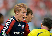 23 May 09: New England Revolution midfielder/defender Jeff Larentowicz #13 argues with the referee during a game between the New England Revolution and Toronto FC..Toronto FC won 3-1.