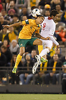 MELBOURNE, 11 JUNE 2013 - Tim CAHILL of Australia heads the ball in a Round 4 FIFA 2014 World Cup qualifier match between Australia and Jordan at Etihad Stadium, Melbourne, Australia. Photo Sydney Low for Zumapress Inc. Please visit zumapress.com for editorial licensing. *This image is NOT FOR SALE via this web site.