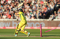 Australia's Glenn Maxwell is bowled by England's Chris Jordan (not shown)<br /> <br /> Photographer Andrew Kearns/CameraSport<br /> <br /> Only IT20 - Vitality IT20 Series - England v Australia - Wednesday 27th June 2018 - Edgbaston - Birmingham<br /> <br /> World Copyright &copy; 2018 CameraSport. All rights reserved. 43 Linden Ave. Countesthorpe. Leicester. England. LE8 5PG - Tel: +44 (0) 116 277 4147 - admin@camerasport.com - www.camerasport.com