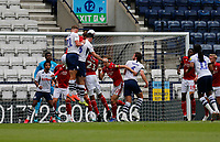 11th July 2020; Deepdale Stadium, Preston, Lancashire, England; English Championship Football, Preston North End versus Nottingham Forest;  Patrick Bauer of Preston North End rises above a packed area to get in his header from a Preston corner