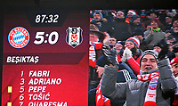 20.02.2018, Football UEFA Champions League 2017/2018, , FC Bayern Muenchen - Besiktas Istanbul, in Allianz Arena Muenchen, Endstand 5:0 scoreboardl, Bayernfans celebration. *** Local Caption *** © pixathlon<br /> <br /> Contact: +49-40-22 63 02 60 , info@pixathlon.de