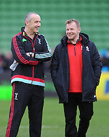 Conor O'Shea, Harlequins Director of Rugby, jokes with Mark McCall, Saracens Director of Rugby, before kick off of the Premiership Rugby match between Harlequins and Saracens - 09/01/2016 - Twickenham Stoop, London<br /> Mandatory Credit: Rob Munro/Stewart Communications