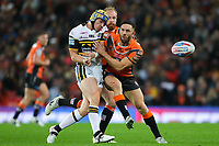 Picture by Alex Whitehead/SWpix.com - 07/10/2017 - Rugby League - Betfred Super League Grand Final - Castleford Tigers v Leeds Rhinos - Old Trafford, Manchester, England - Leeds' Jack Walker is tackled by Castleford's Luke Gale.
