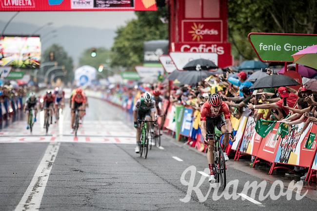 Nikias Arndt (DEU/Sunweb) wins the wet sprint of the breakaway group<br /> <br /> Stage 8: Valls to Igualada (167km)<br /> La Vuelta 2019<br /> <br /> ©kramon