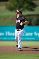 Kannapolis Intimidators starting pitcher Zach Thompson (40) in action against the Hagerstown Suns at Intimidators Stadium on July 18, 2015 in Kannapolis, North Carolina.  The Intimidators defeated the Suns 1-0.  (Brian Westerholt/Four Seam Images)
