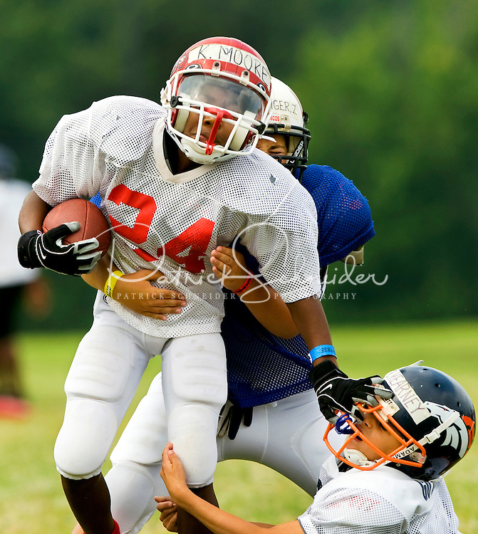 College Coaches Camp: Young Football Players Practice Offense-defense Skills