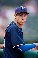 Northwest Arkansas Naturals Jared Ruxer (25) in the dugout during a game against the Midland RockHounds on May 27, 2017 at Arvest Ballpark in Springdale, Arkansas.  NW Arkansas defeated Midland 3-2.  (Mike Janes/Four Seam Images)