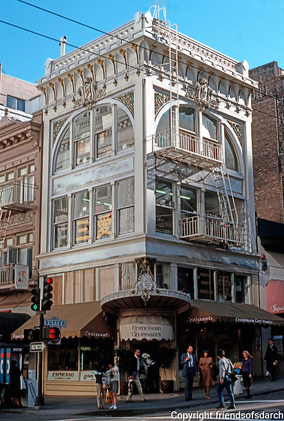 San Francisco:  Franciscan Croissants, SW corner Grant & Sutter. (This charming Belle Epoque building is not in the guide.) Photo '89.