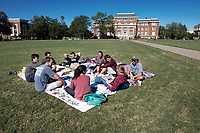Students hanging out on Drill Field blanket.<br />  (photo by Megan Bean / &copy; Mississippi State University)