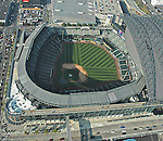 Aerial view of Seattle's Safeco field, home of the Mariners, major league baseball