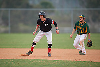 Edgewood Eagles first baseman Joseph Kalafut (6) leads off second base in front of shortstop Nick Guajardo (22) during a game against the South Vermont Mountaineers on March 18, 2019 at Lee County Player Development Complex in Fort Myers, Florida.  South Vermont defeated Edgewood 19-6.  (Mike Janes/Four Seam Images)