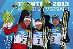Weronika Nowakowska, Monika Hojnisz (POL) Tatiana Semenova (RUS) at the podium of the Women 10 km pursuit Biathlon race as part of the Winter Universiade Trentino 2013 on 16/12/2013 in Lago Di Tesero, Italy.<br /> <br /> &copy; Pierre Teyssot - www.pierreteyssot.com