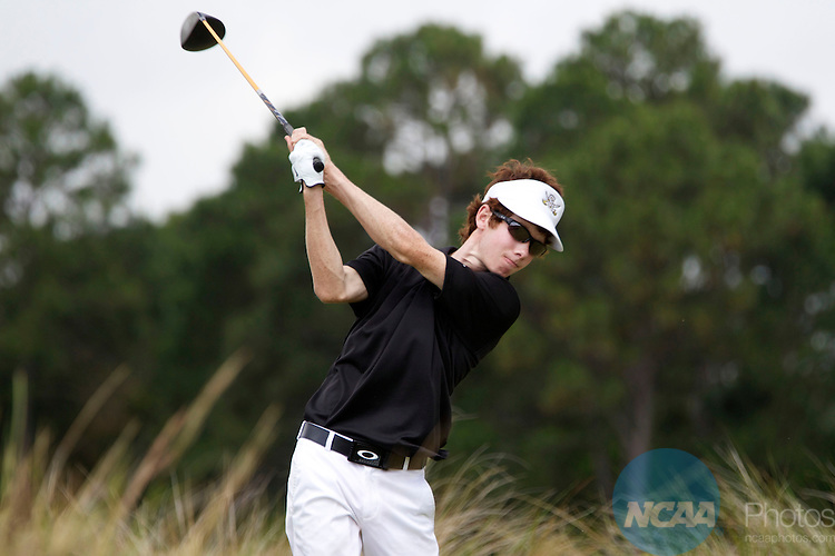 17 MAY 2013:  Michael Gebhardt of Southwestern University watches his shot during the Division III Men's Golf Championship held at the Sandestin Golf and Beach Resort Raven Course in Destin, FL.  Mark Wallheiser/NCAA Photos