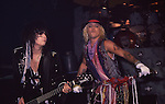 Nikki Sixx & Vince Neil of Motley Crue at Madison Square Garden Aug 1985.