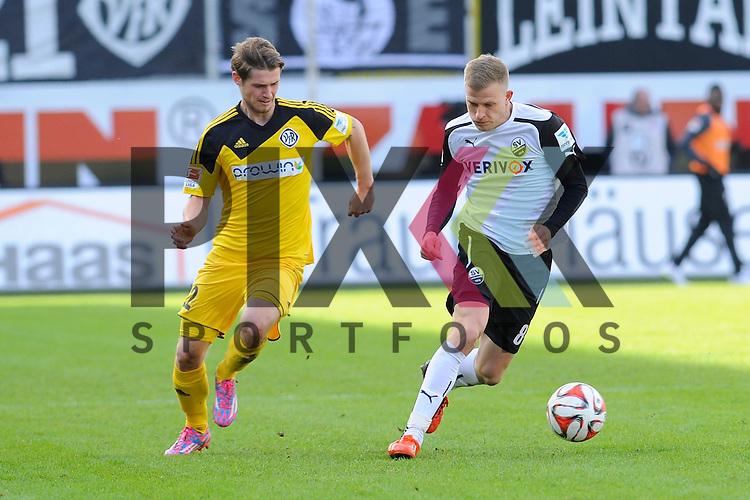 Sandhausens Nicky Adler (Nr.8) gegen Aalens Dennis Chessa (Nr.22)  im Spiel der 2. Bundesliga, SV Sandhausen - VfR Aalen.<br /> <br /> Foto &copy; P-I-X.org *** Foto ist honorarpflichtig! *** Auf Anfrage in hoeherer Qualitaet/Aufloesung. Belegexemplar erbeten. Veroeffentlichung ausschliesslich fuer journalistisch-publizistische Zwecke. For editorial use only.
