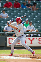Memphis Redbirds outfielder Stephen Piscotty (33) at bat during the first game of a Pacific Coast League doubleheader against the Round Rock Express on August 3, 2014 at the Dell Diamond in Round Rock, Texas. The Redbirds defeated the Express 4-0. (Andrew Woolley/Four Seam Images)