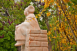 "Sculpture Garden at Nedra Matteucci Gallery, sculpture named ""Expectations"" by Doug Hyde; Santa Fe, New Mexico"