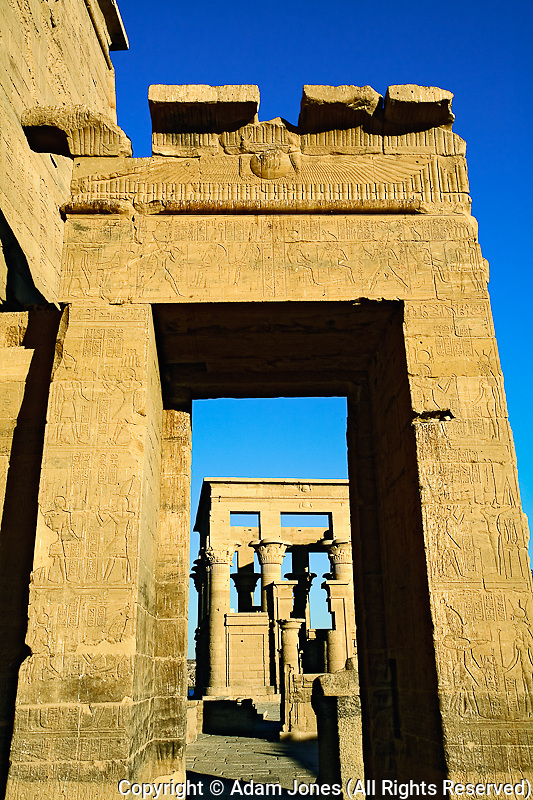 Hieroglyphs on columns, Temple of Philae, on Agilika, an island in the Nile River, near Aswan, Egypt.
