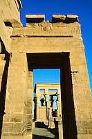 Hieroglyphs on columns, Temple of Philae, on Agilika, an island in the Nile River, near Aswan, Egypt.
