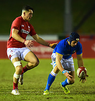 Wales U20's Jordan Walters competes with Italy U20's Michelangelo Biondelli <br /> <br /> Photographer Richard Martin-Roberts/CameraSport<br /> <br /> Six Nations U20 Championship Round 4 - Wales U20s v Italy U20s - Friday 9th March 2018 - Parc Eirias, Colwyn Bay, North Wales<br /> <br /> World Copyright &not;&copy; 2018 CameraSport. All rights reserved. 43 Linden Ave. Countesthorpe. Leicester. England. LE8 5PG - Tel: +44 (0) 116 277 4147 - admin@camerasport.com - www.camerasport.com