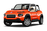Stock pictures of low aggressive front three quarter view of 2016 Citroen E-Mehari 3 Door Convertible Low Aggressive