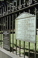 Boston, Mass..Sign at the old Granary Burial Ground (est. 1660) indicates that Paul Revere is buried here