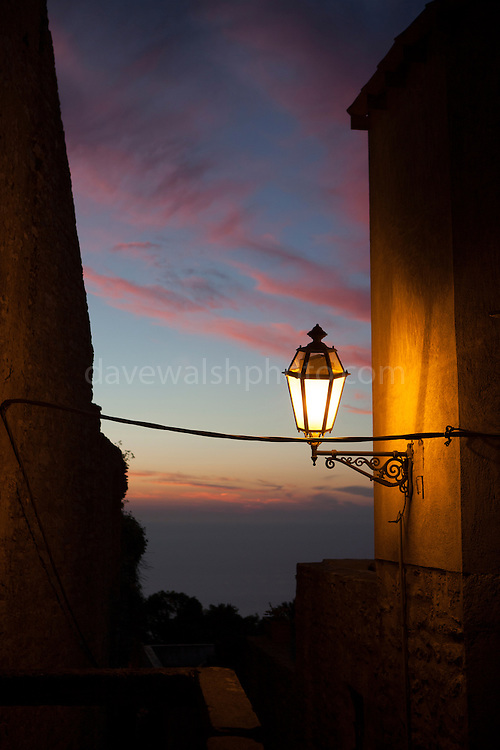 Sunset and Lamplight, Erice, Sicily. (c) Dave Walsh 2013