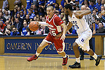 30 October 2015: Florida Southern's Dylan Travis (15) and Duke's Matt Jones (13). The Duke University Blue Devils hosted the Florida Southern College Moccasins at Cameron Indoor Stadium in Durham, North Carolina in a 2015-16 NCAA Men's Basketball Exhibition game. Duke won the game 112-68.