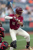 Florida State Seminoles shortstop Mike Salvatore (16) at bat during Game 9 of the NCAA College World Series against the Texas Tech Red Raiders on June 19, 2019 at TD Ameritrade Park in Omaha, Nebraska. Texas Tech defeated Florida State State 4-1. (Andrew Woolley/Four Seam Images)