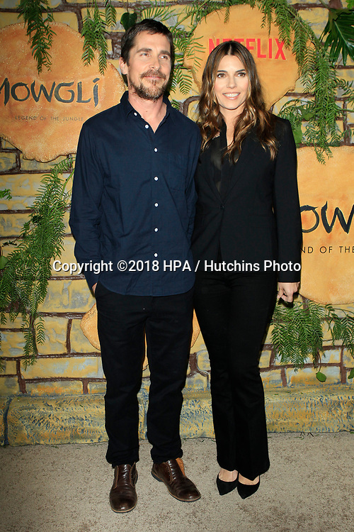 "LOS ANGELES - NOV 28:  Christian Bale, Sibi Blazic at the ""Mowgli: Legend of the Jungle"" Premiere at the ArcLight Theater on November 28, 2018 in Los Angeles, CA"
