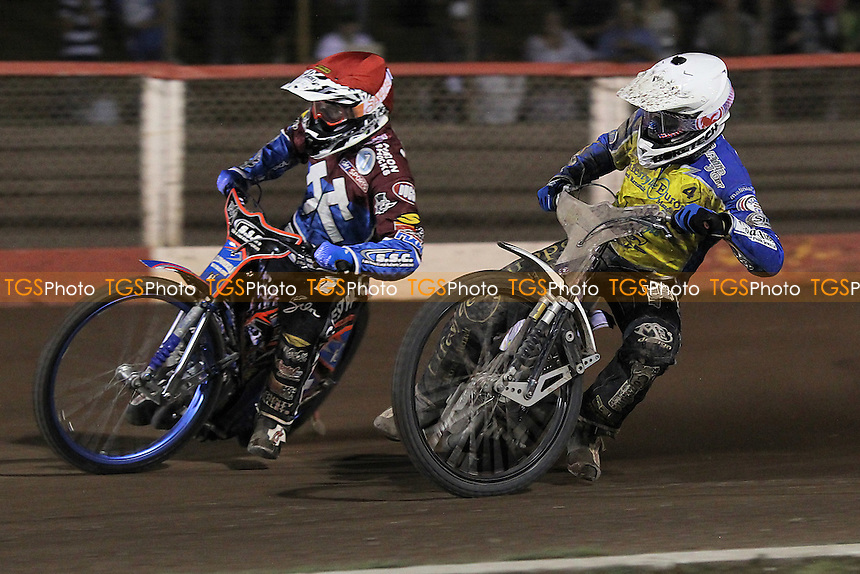 Heat 13: Cameron Woodward (white) and Davey Watt - Lakeside Hammers vs Eastbourne Eagles - Sky Sports Elite League Speedway at Arena Essex Raceway, Purfleet - 17/08/12 - MANDATORY CREDIT: Gavin Ellis/TGSPHOTO - Self billing applies where appropriate - 0845 094 6026 - contact@tgsphoto.co.uk - NO UNPAID USE.