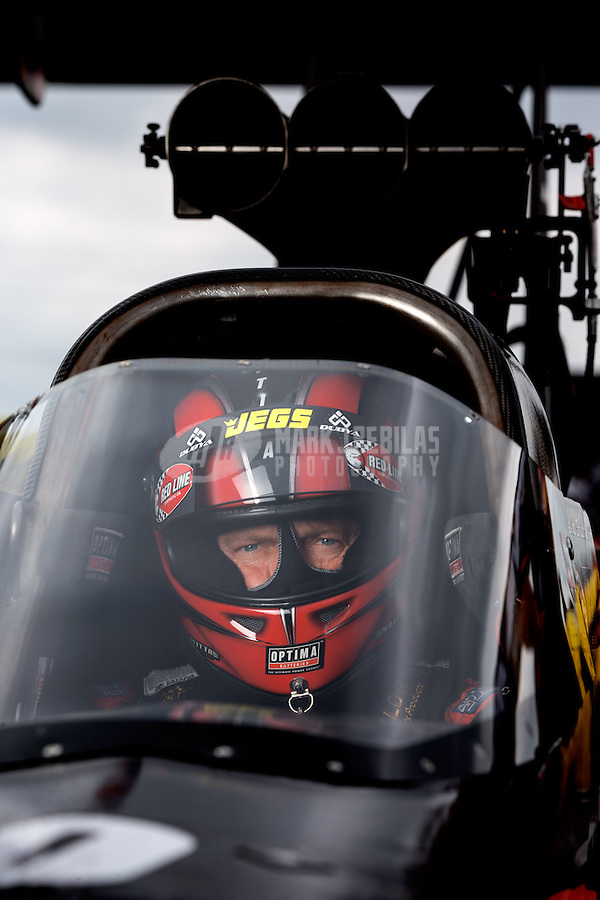Sept. 1, 2013; Clermont, IN, USA: NHRA top fuel dragster driver David Grubnic during qualifying for the US Nationals at Lucas Oil Raceway. Mandatory Credit: Mark J. Rebilas-